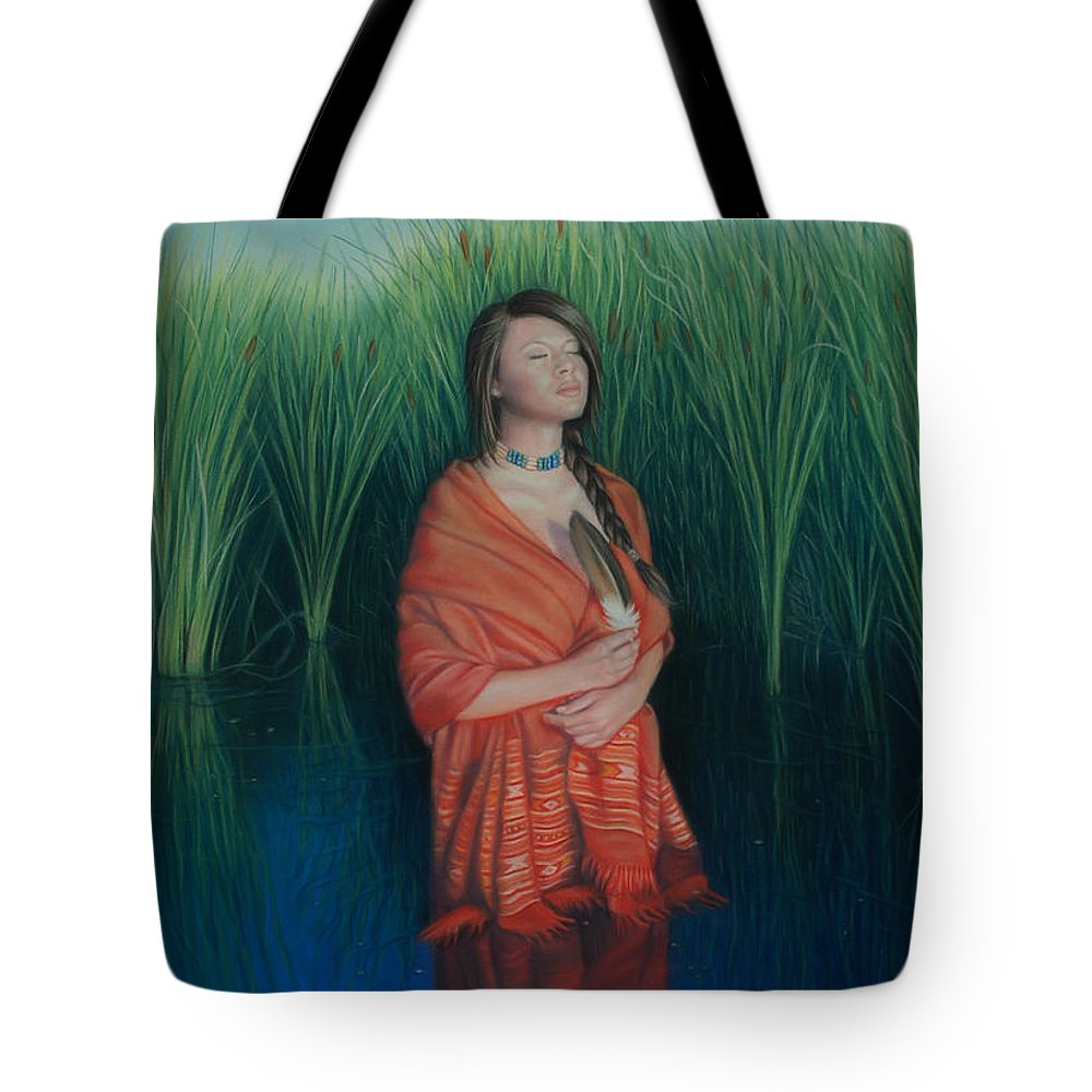 Realistic Tote Bag featuring the pastel A Prayer For The Waters by Holly Kallie