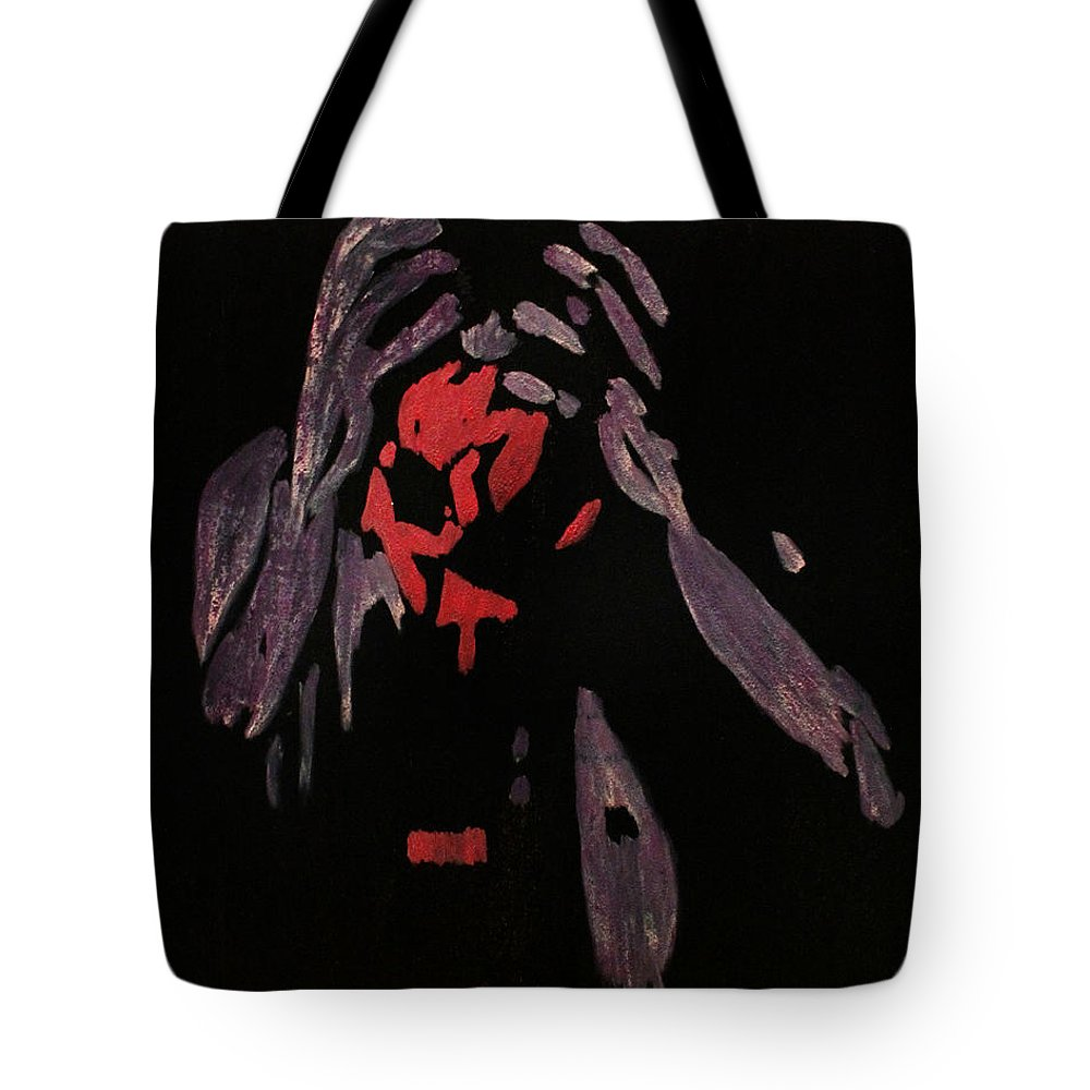 Gasmask Tote Bag featuring the painting A Pretty Apocalypse by Amanda Morrison