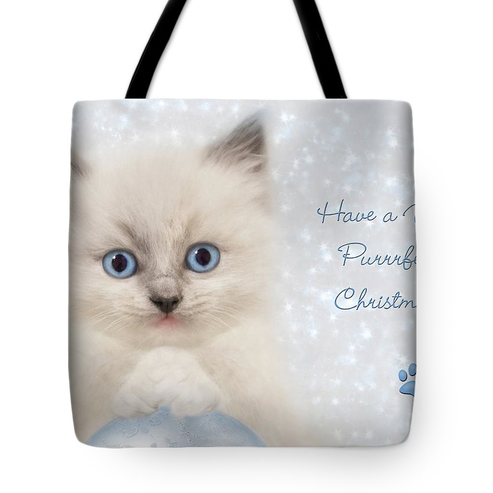 Cat Tote Bag featuring the photograph A Purrrfect Christmas by Lori Deiter