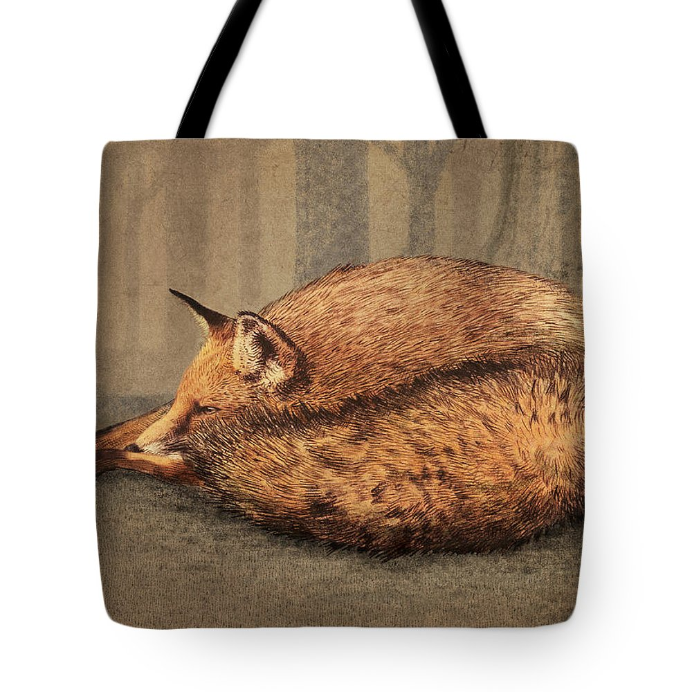 Fox Tote Bag featuring the drawing A Quiet Place by Eric Fan