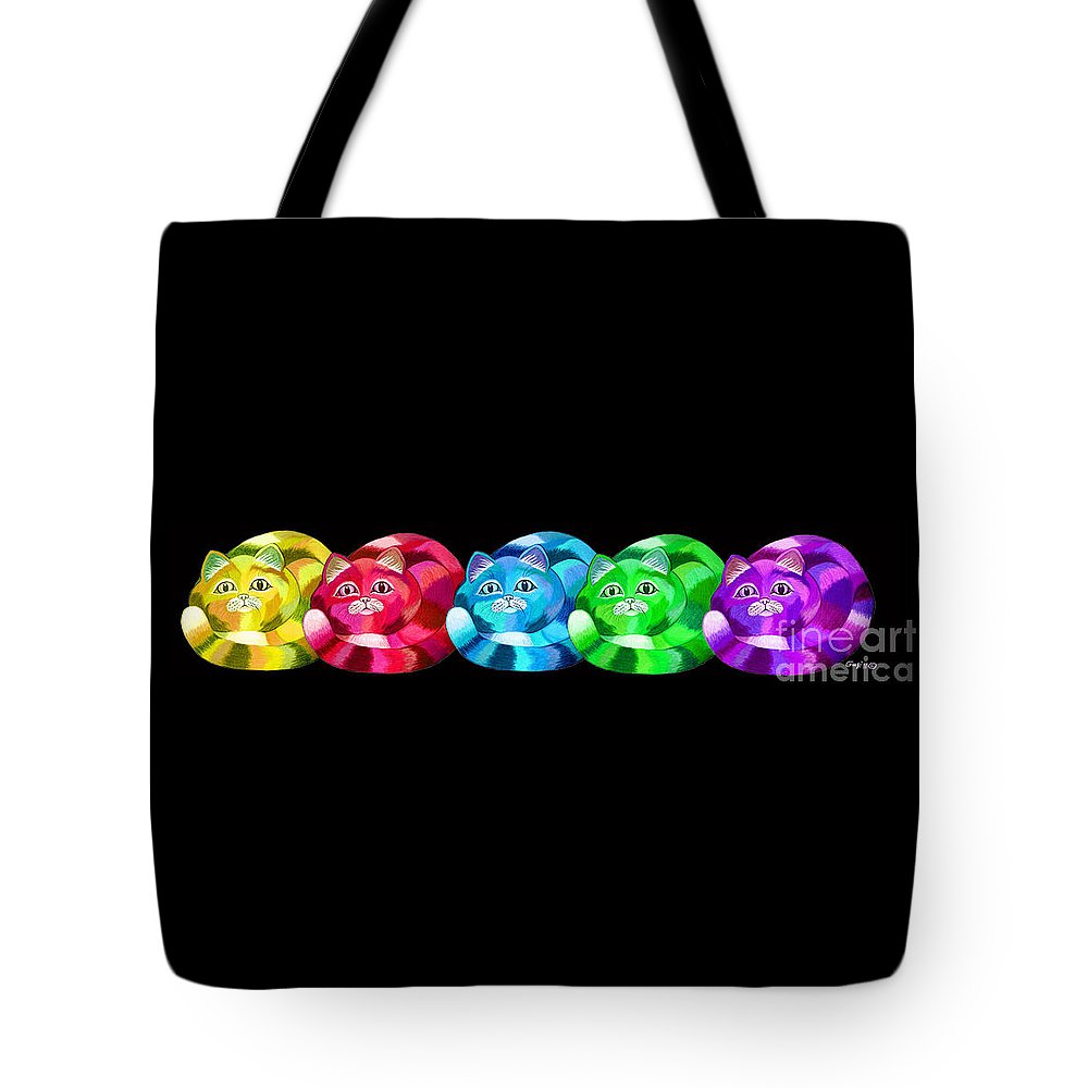 Cat Art Tote Bag featuring the digital art A Rainbow Cats 2 by Nick Gustafson