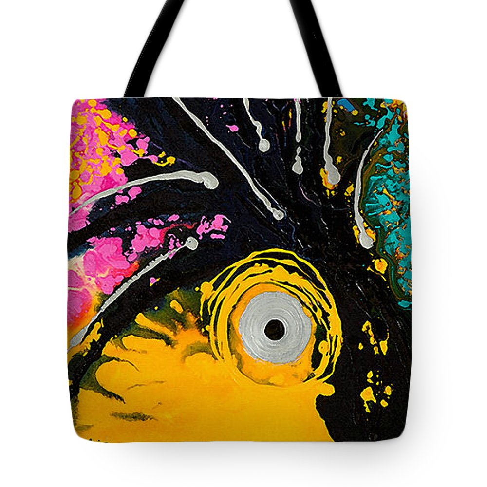 Parrot Tote Bag featuring the painting A Rare Bird - Tropical Parrot Art By Sharon Cummings by Sharon Cummings
