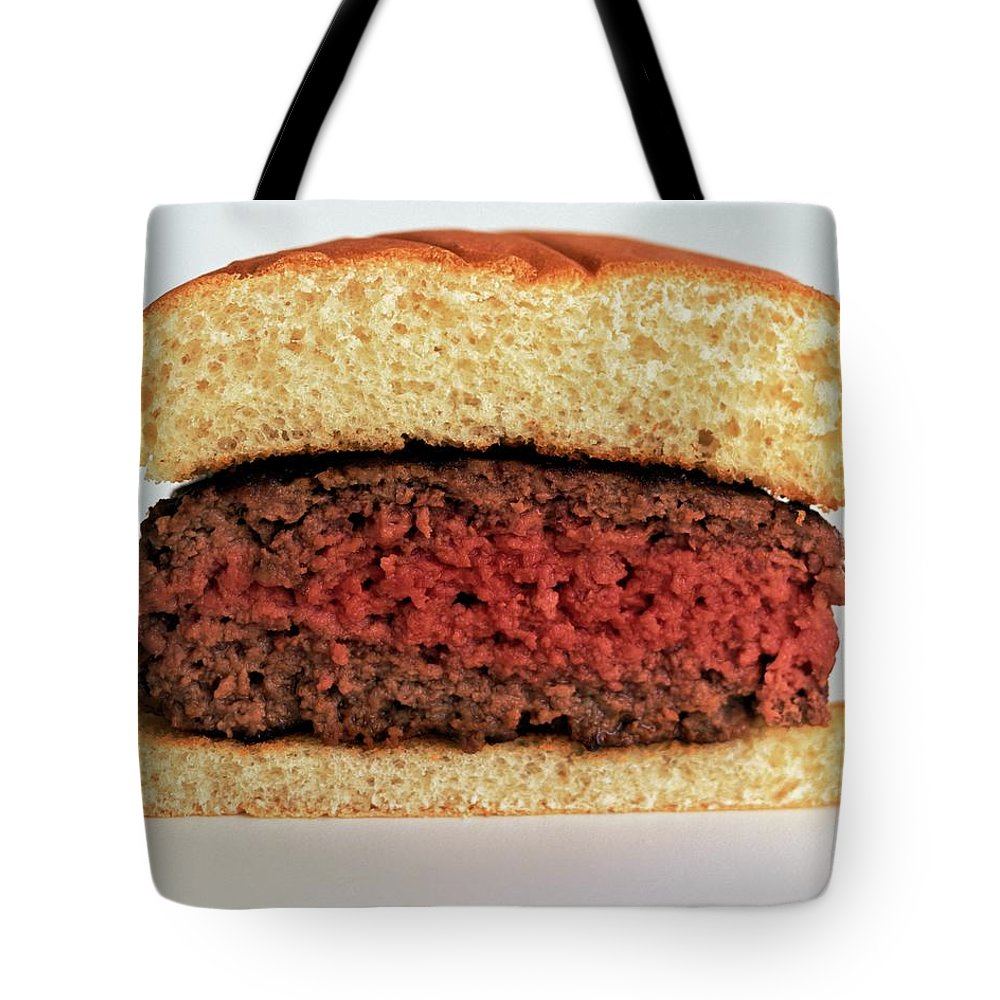 Cooking Tote Bag featuring the photograph A Rare Hamburger by Romulo Yanes