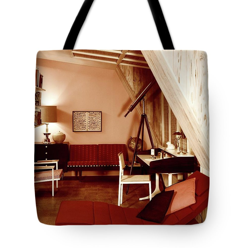 Indoors Tote Bag featuring the photograph A Red Living Room by Haanel Cassidy
