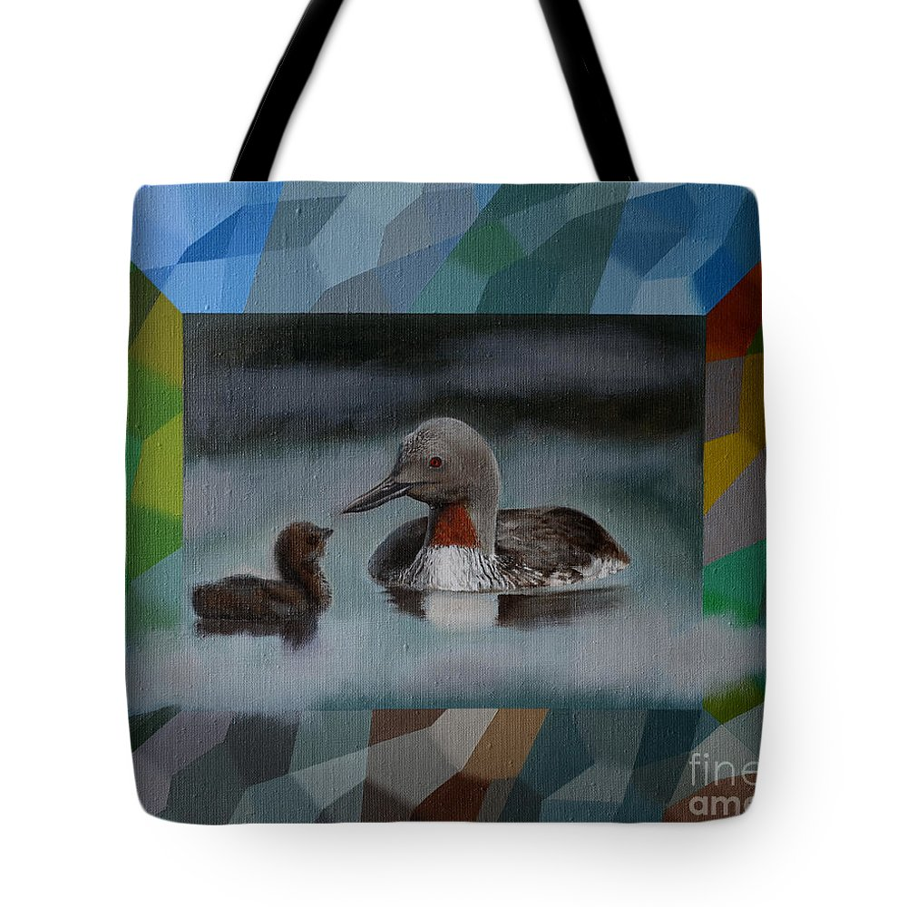 Bird Tote Bag featuring the painting A Red-throated Diver And The Chick by Jukka Nopsanen