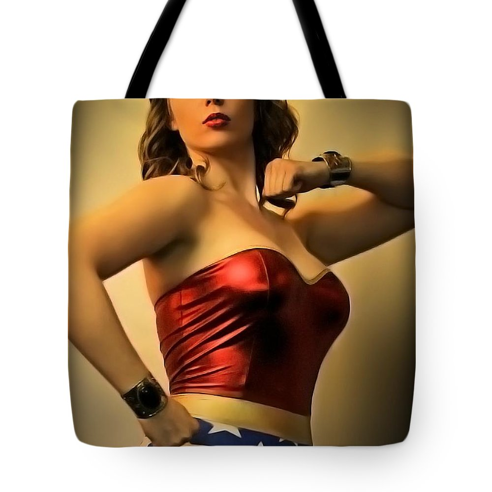 Wonder Woman Tote Bag featuring the photograph A Wondrous Retro Woman by Jon Volden