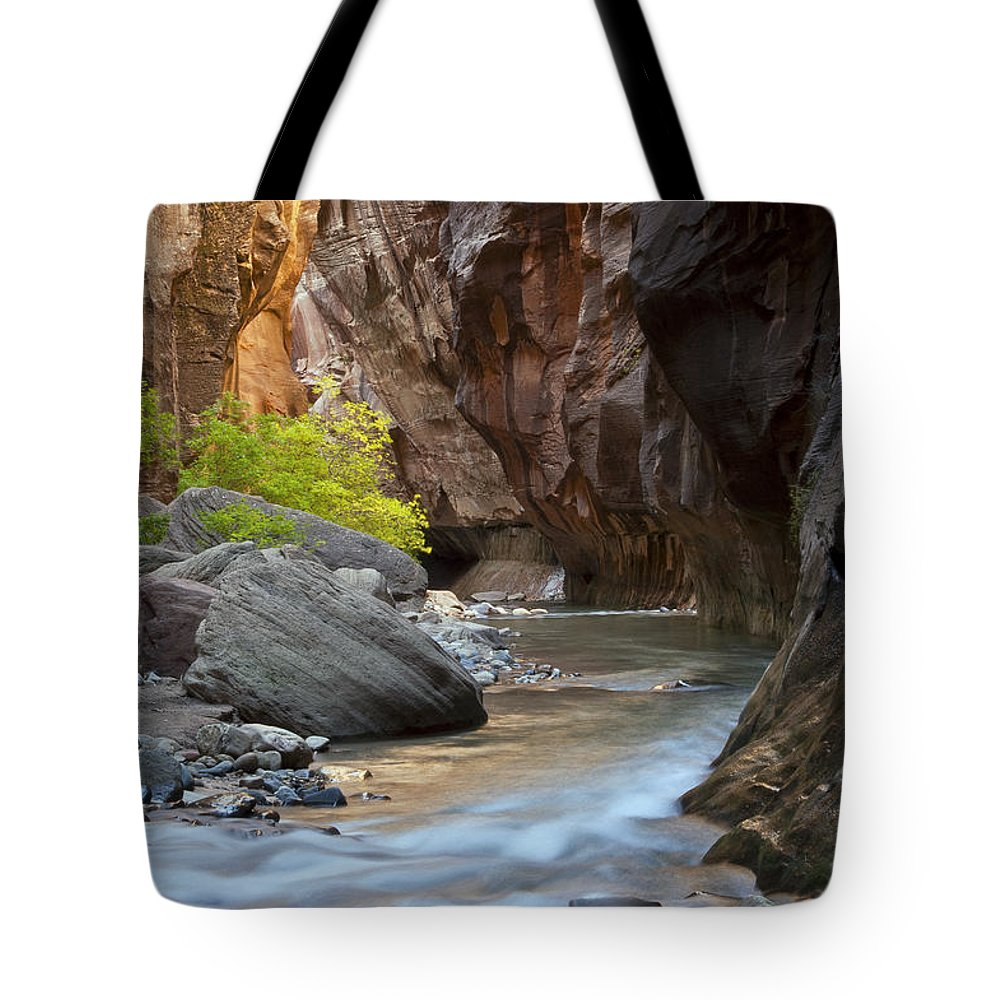 The Narrows Tote Bag featuring the photograph A River Runs Through It by Bob Phillips