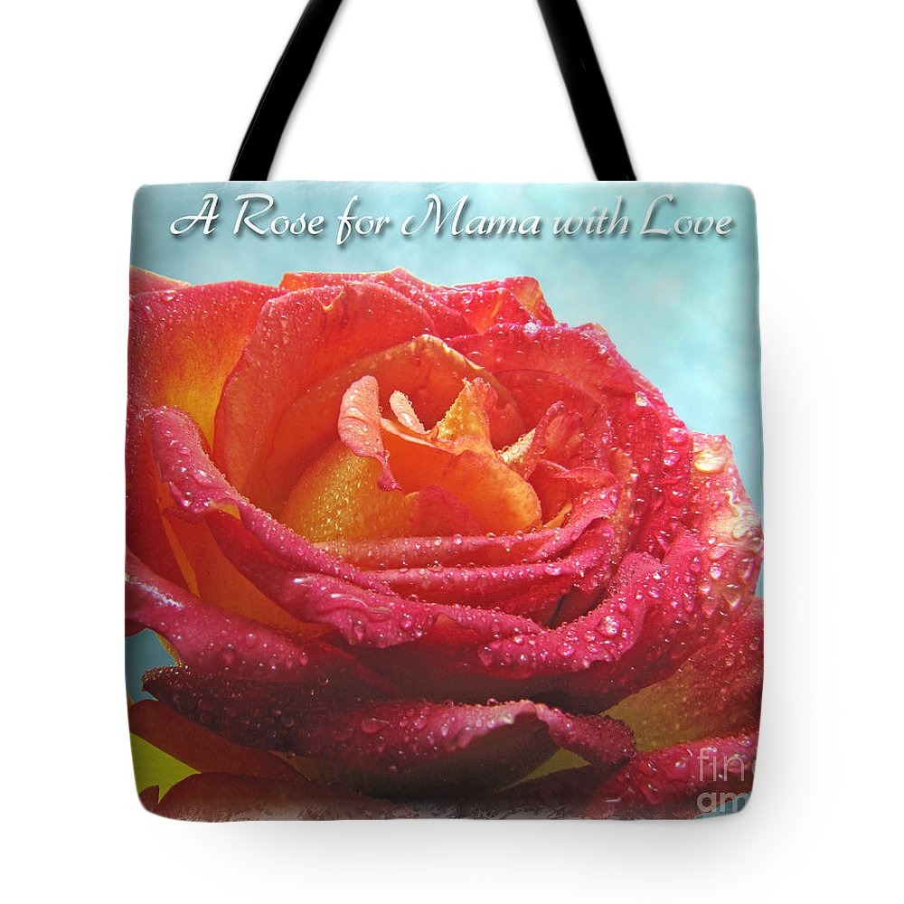 Dew Tote Bag featuring the photograph A Rose For Mama With Love Greeting Card by Debbie Portwood