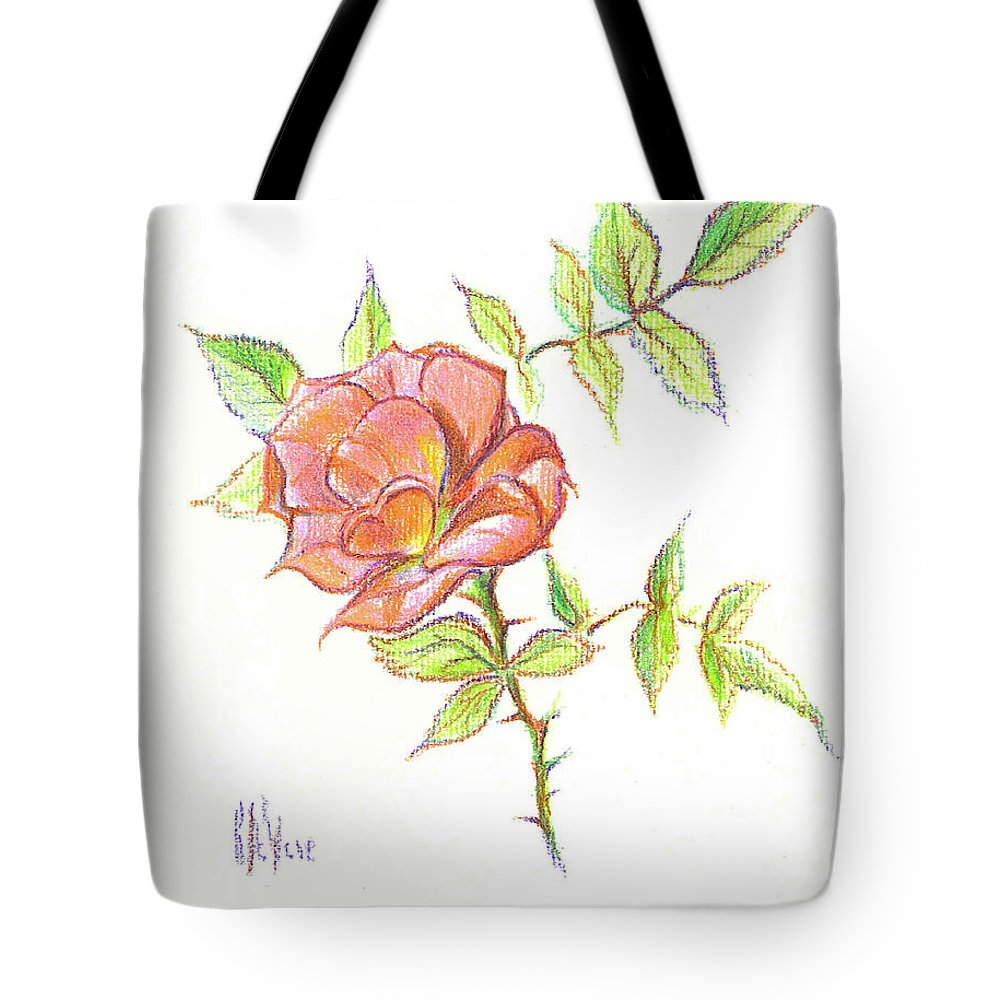 A Rose In Brigadoon Tote Bag featuring the drawing A Rose In Brigadoon by Kip DeVore