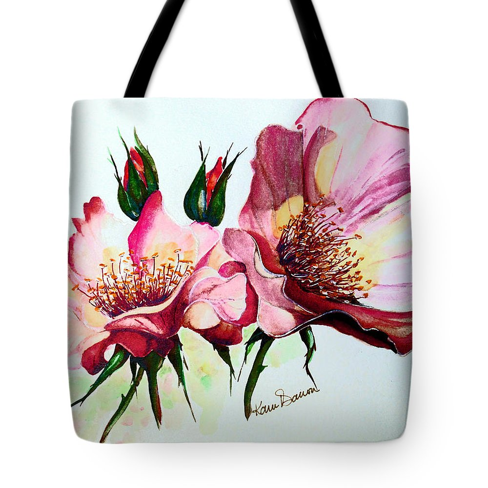 Flower Painting Tote Bag featuring the painting A Rose Is A Rose by Karin Dawn Kelshall- Best