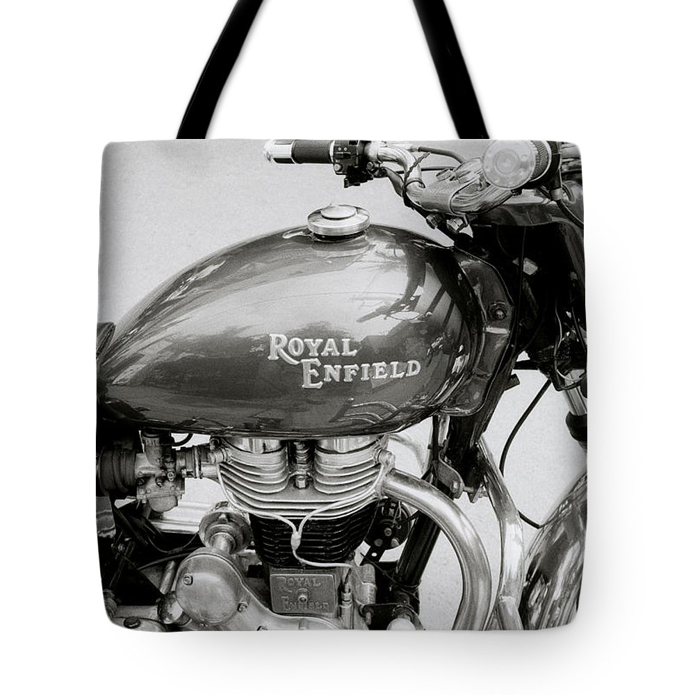 Motorbike Tote Bag featuring the photograph A Royal Enfield Motorbike by Shaun Higson