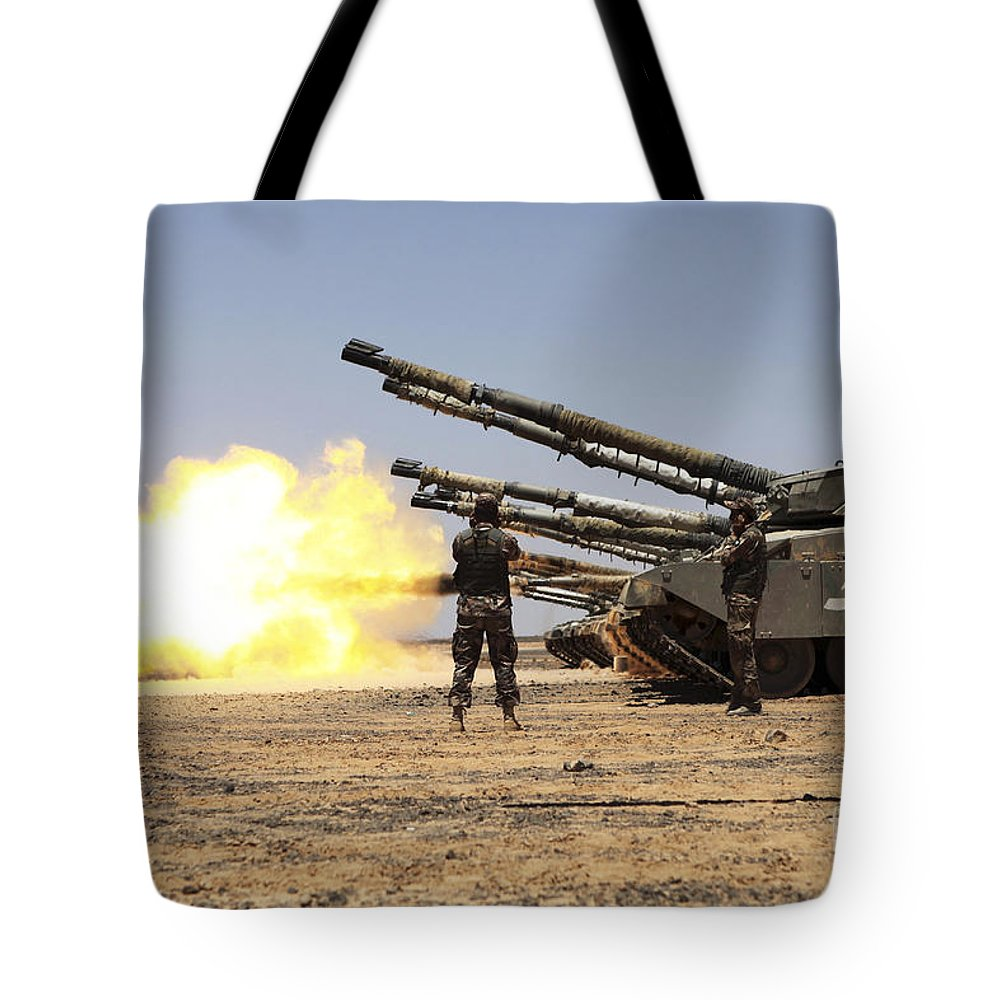 Military Tote Bag featuring the photograph A Royal Jordanian Land Force Challenger by Stocktrek Images