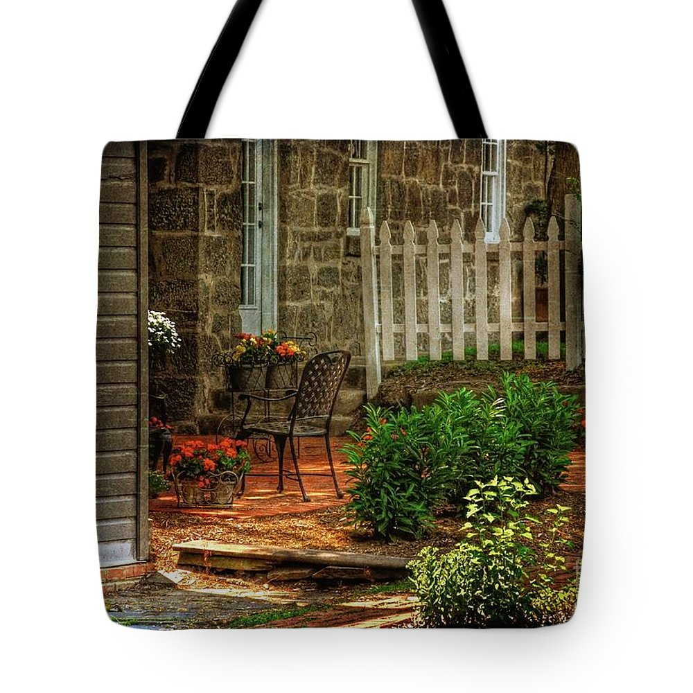 Architecture Tote Bag featuring the photograph A Seat In The Shade by Lois Bryan