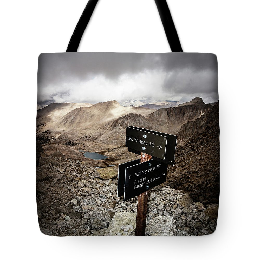 Awe Tote Bag featuring the photograph A Signed Trail Junction On The Way by Ron Koeberer