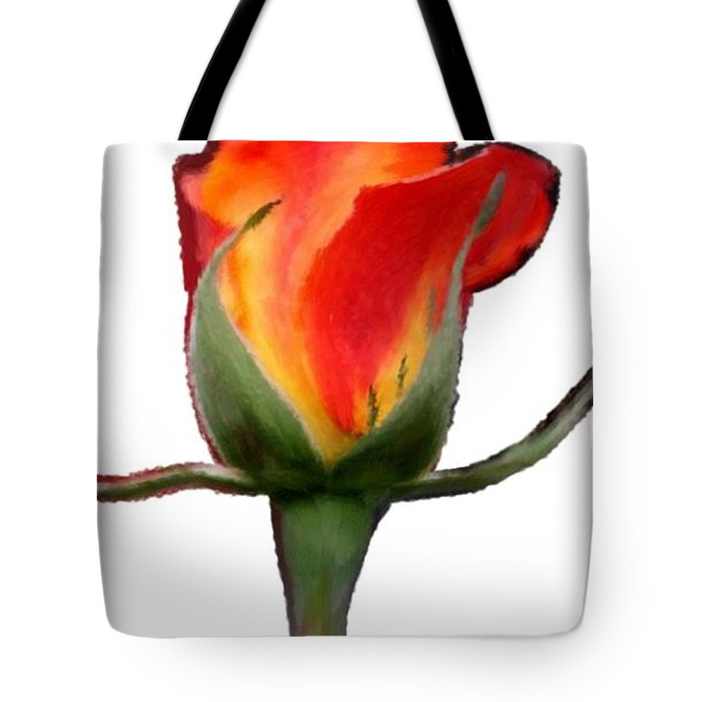 Red Tote Bag featuring the painting A Single Red Rose by Bruce Nutting