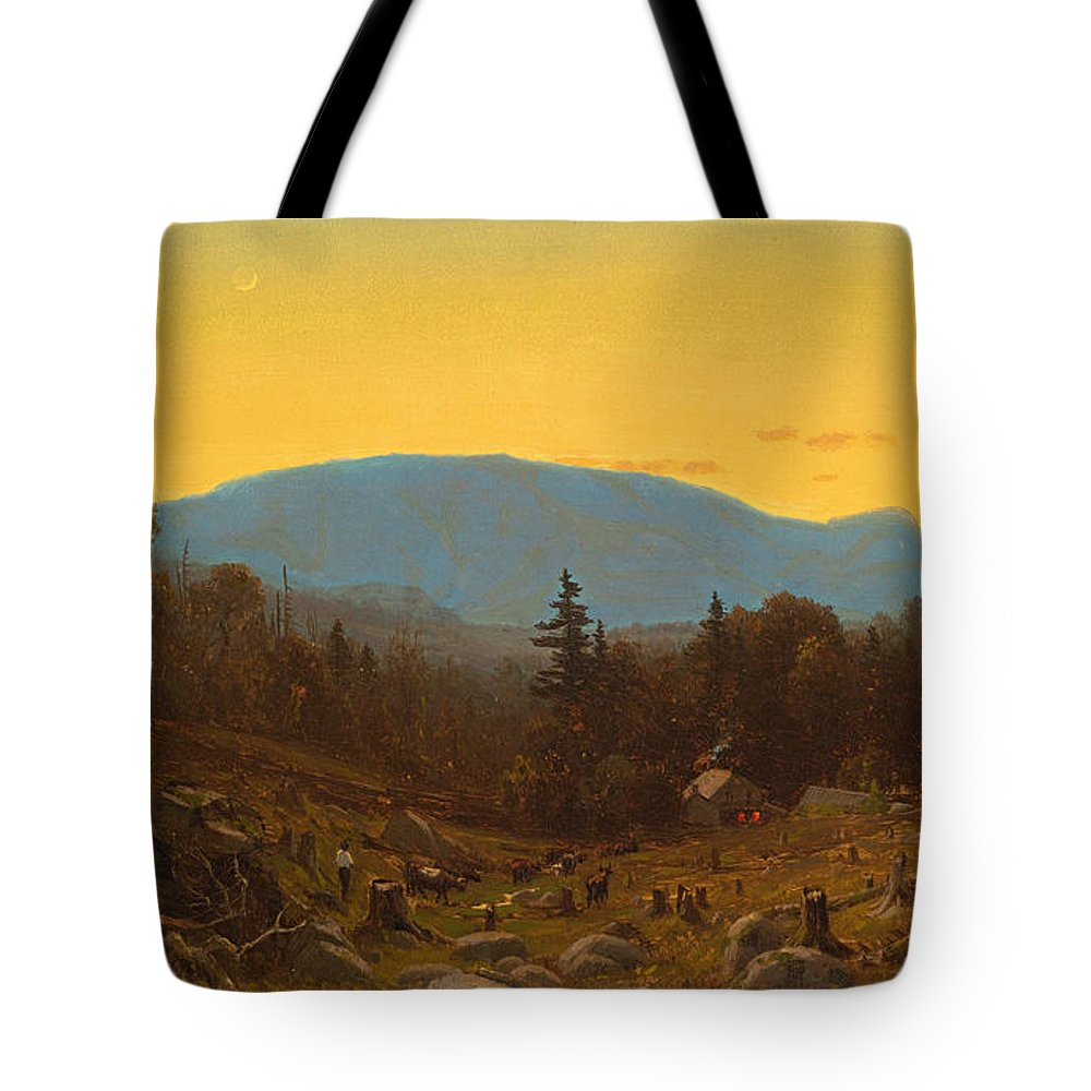 Sanford Robinson Gifford Tote Bag featuring the painting A Sketch Of Hunter Mountain. Catskills. Twilight On Hunter Mountain by Sanford Robinson Gifford