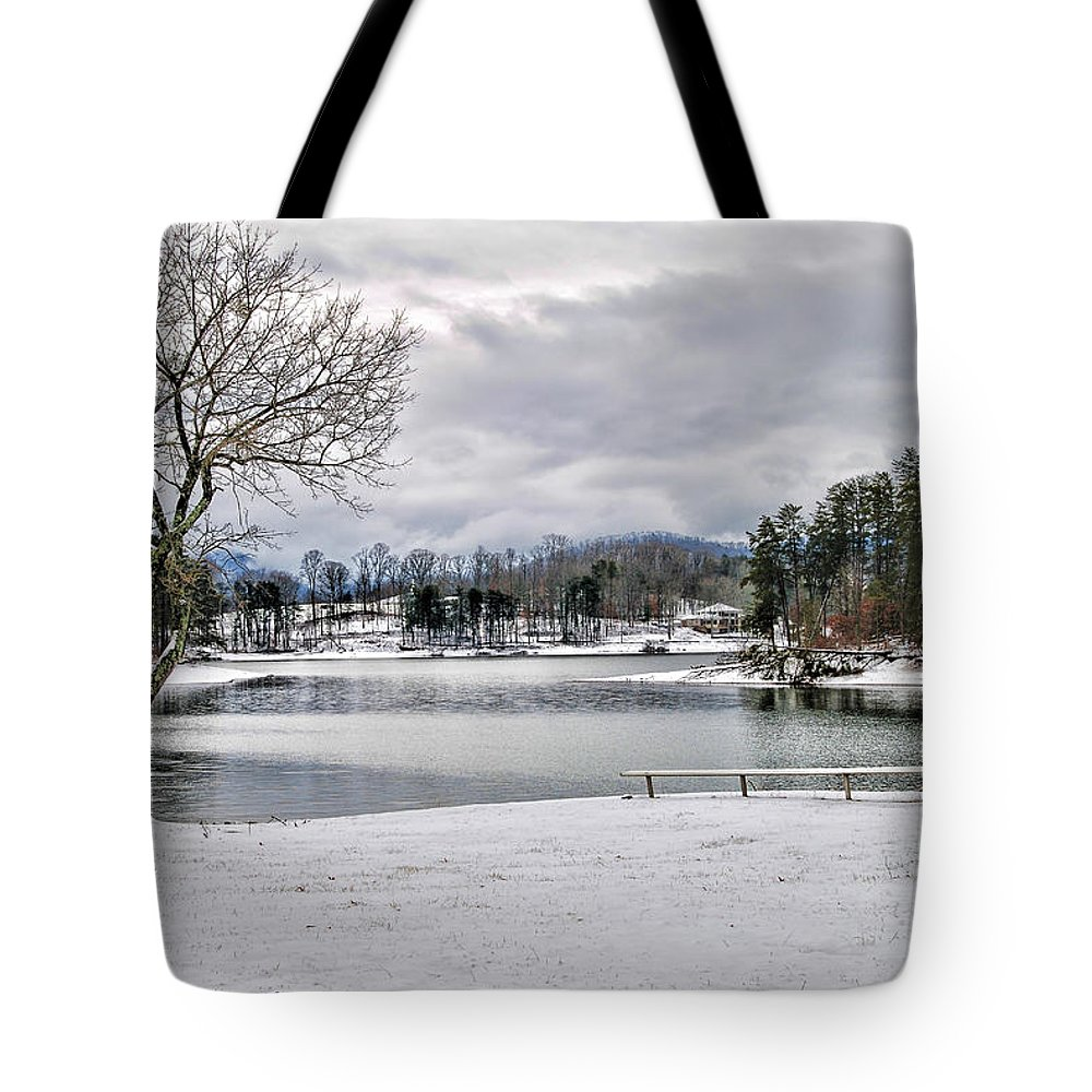 Kenny Francis Tote Bag featuring the photograph A Snowy Day On Lake Chatuge by Kenny Francis