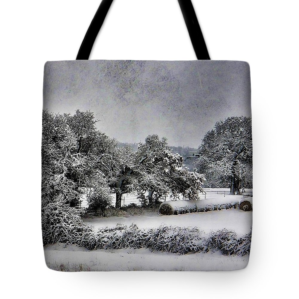 Sow Tote Bag featuring the photograph A Snowy Day by Shannon Story