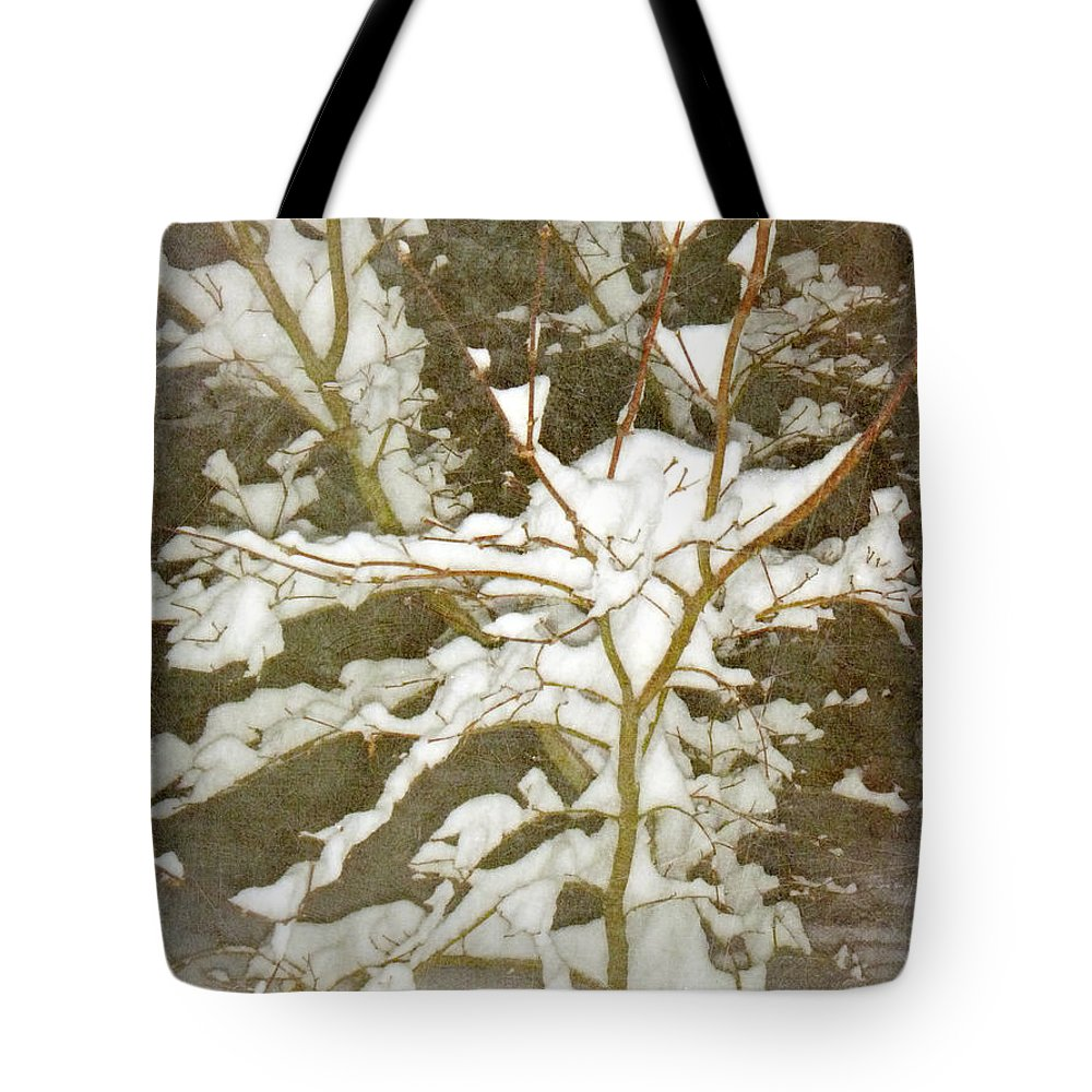 Snow Tote Bag featuring the photograph A Snowy Tree by Alys Caviness-Gober