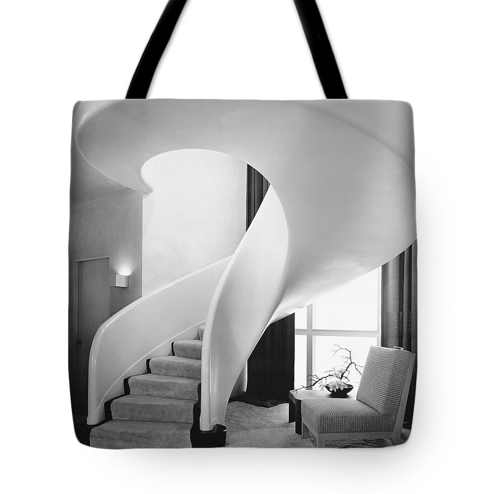 Interior Tote Bag featuring the photograph A Spiral Staircase by Hedrich-Blessing