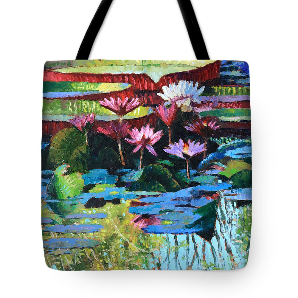 Garden Pond Tote Bag featuring the painting A Splash of Sunlight by John Lautermilch