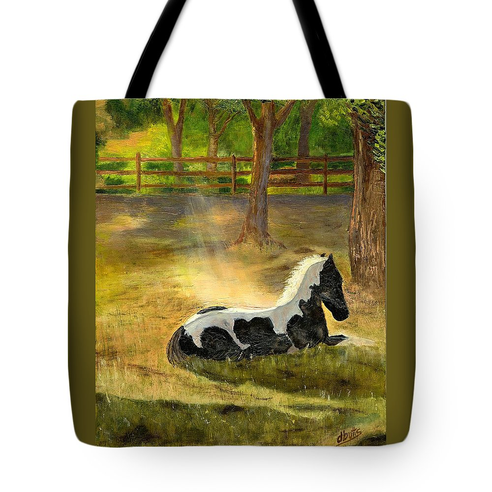 Horse Art Tote Bag featuring the painting A Spot In The Sun by Deborah Butts