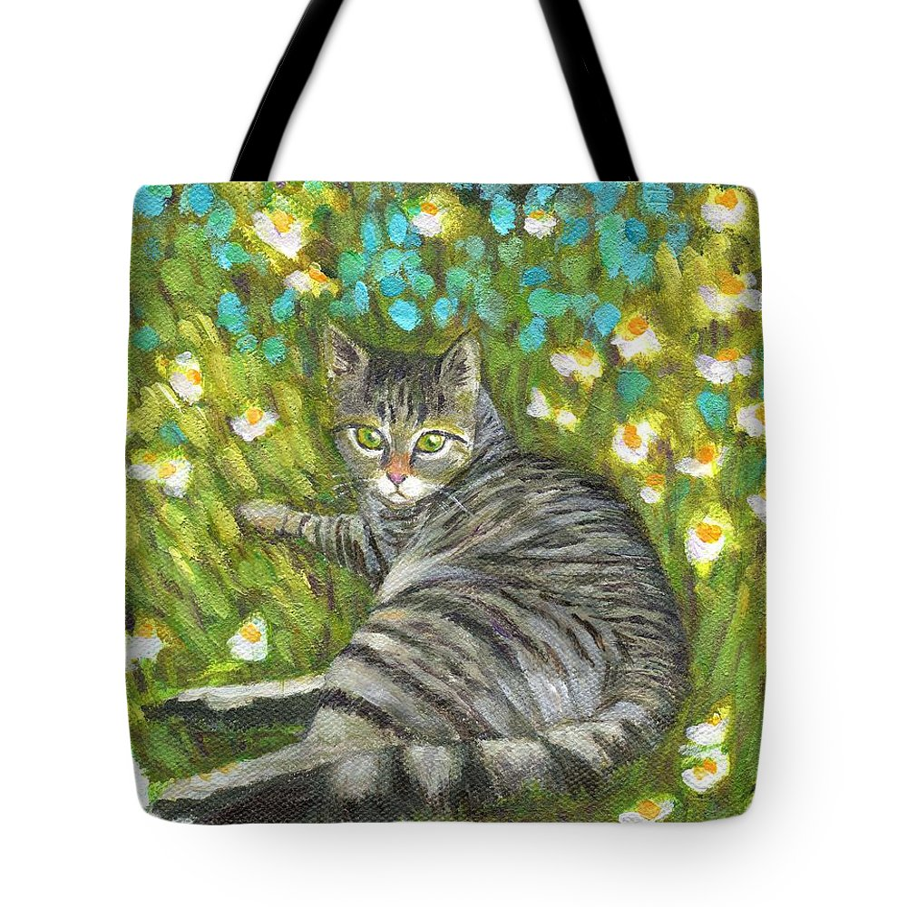 Cat On A Mat Tote Bag featuring the painting A Striped Cat On Floral Carpet by Jingfen Hwu