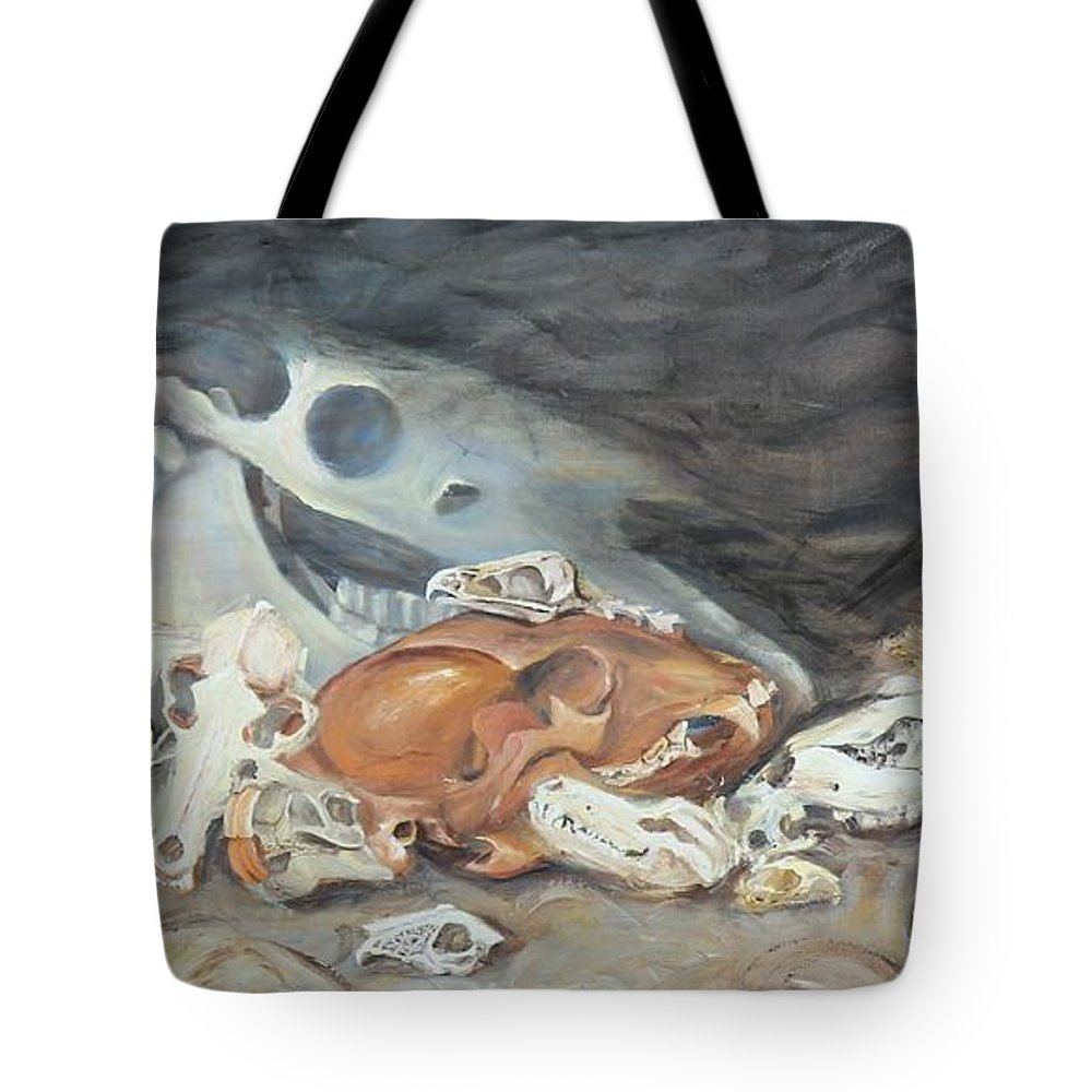 Skull Tote Bag featuring the painting A Study Of Skulls by Codyrose Bowden