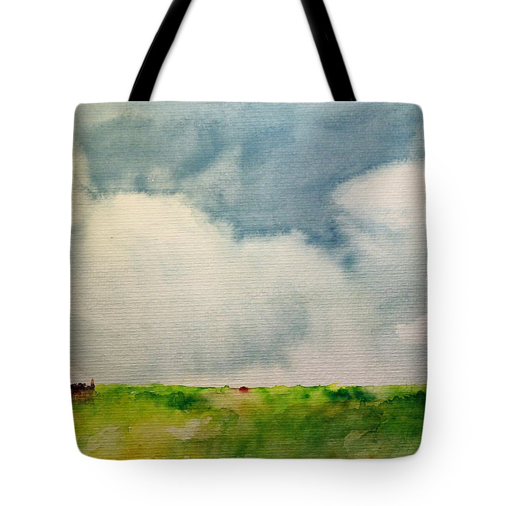 Cloud Clouds Summer Summerday Sun Blue Sky Green Land Landscape Watercolor Aquarell Village Cloudy Tote Bag featuring the painting A Summerday by Steve K