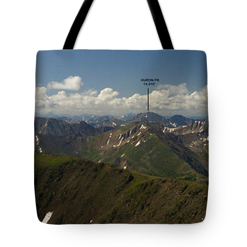 Summit View Tote Bag featuring the photograph A Summit View Panorama With Peak Labels by Jeremy Rhoades