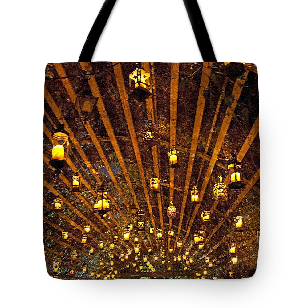 Candles Tote Bag featuring the photograph A Thousand Candles - Tunnel Of Light by John Black