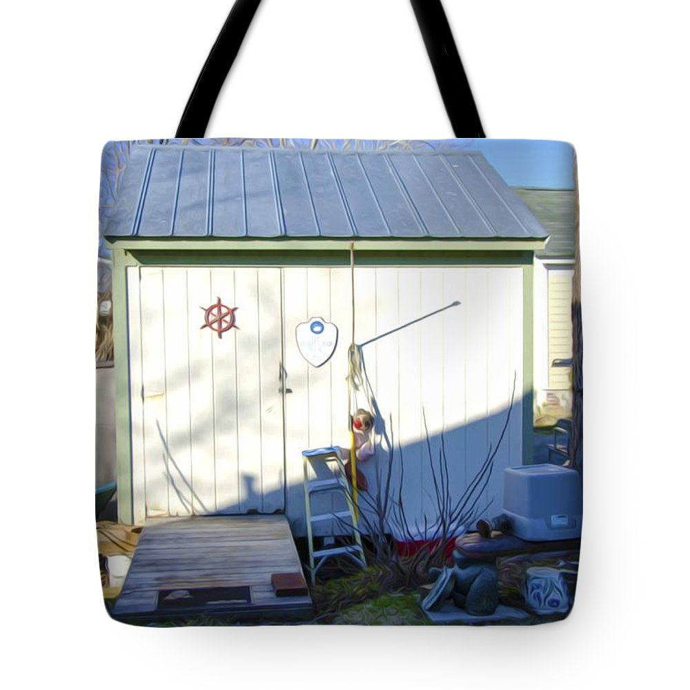 Shed Tote Bag featuring the painting A Tool Shed In The Back Yard by Jeelan Clark