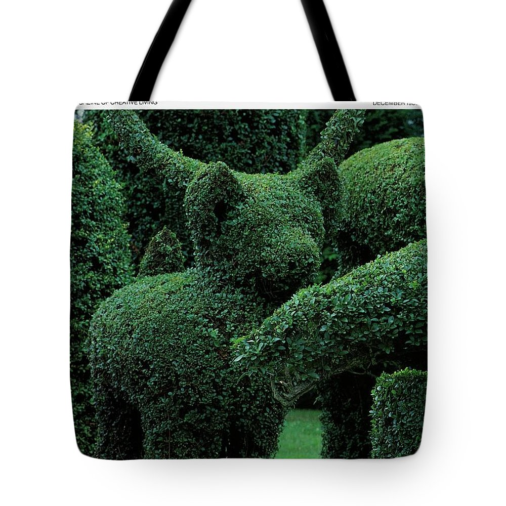 Animal Tote Bag featuring the photograph A Topiary Bear In Alice Braytons Green Animals by Horst P. Horst