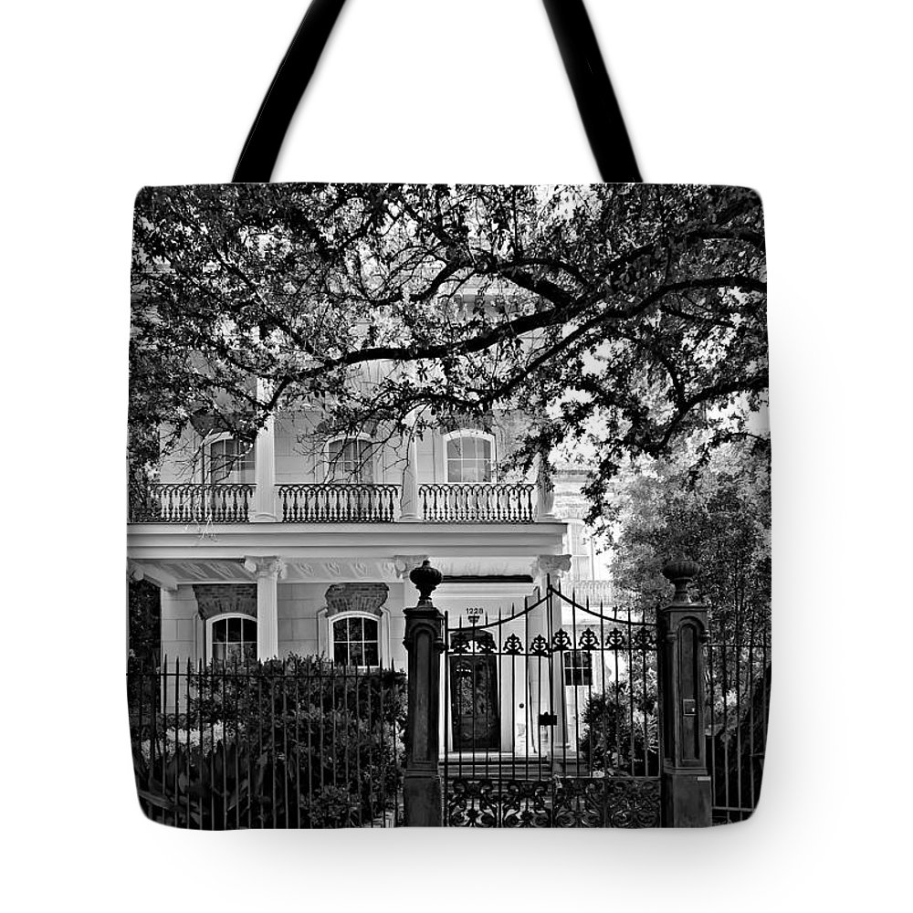 Garden District Tote Bag featuring the photograph A Touch Of Class Monochrome by Steve Harrington