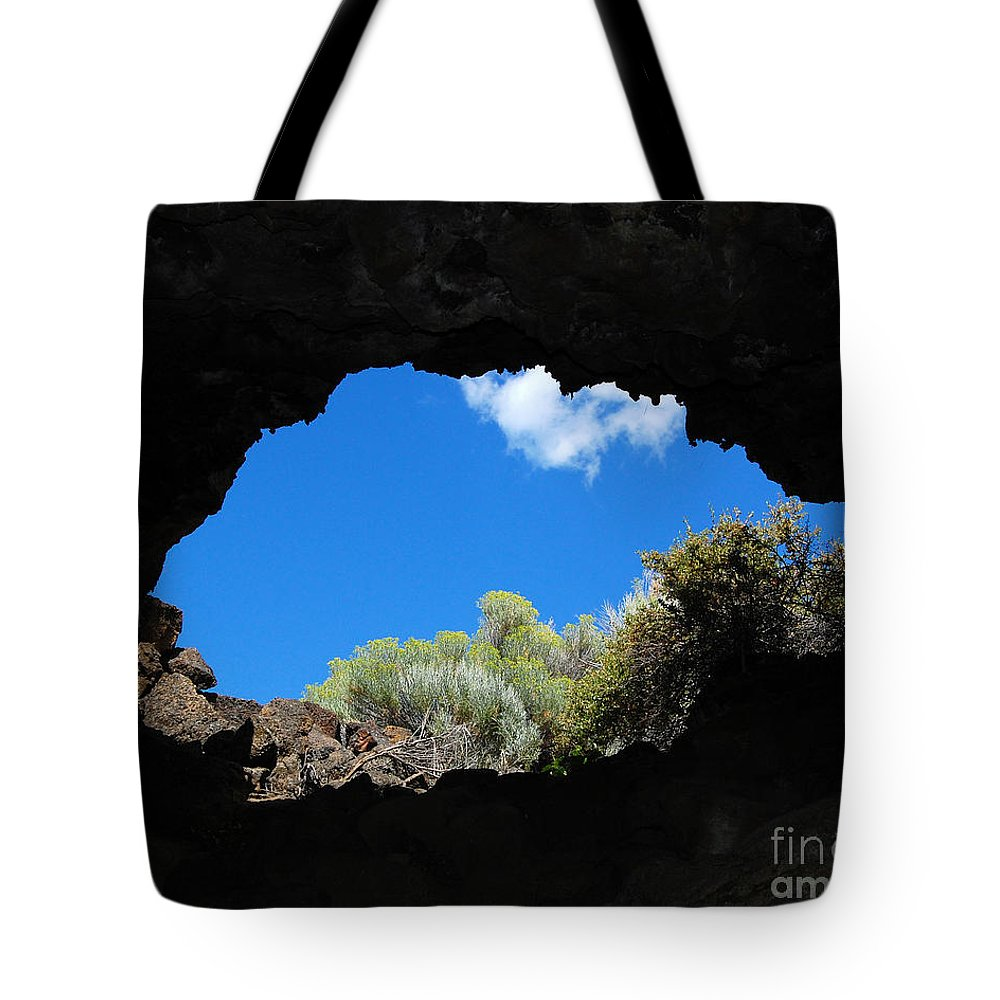 Lava Beds National Monument Tote Bag featuring the photograph A Touch Of Sky by Debra Thompson