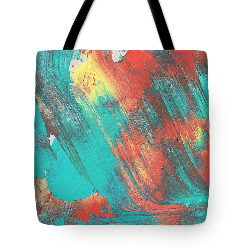 Abstract Tote Bag featuring the painting A Train To Wherever by Maura Satchell