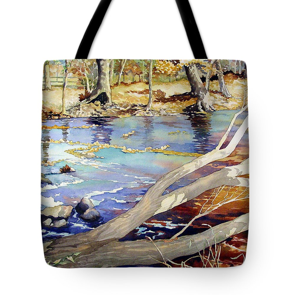 Watercolor Tote Bag featuring the painting A Tree Falls by Mick Williams