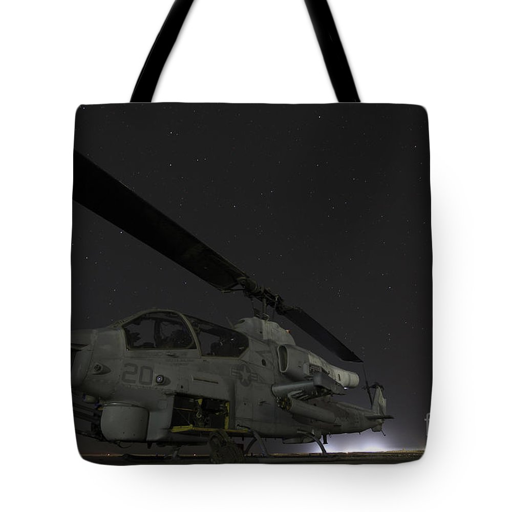 Night Tote Bag featuring the photograph A U.s. Marine Corps Ah-1w Cobra Attack by Stocktrek Images