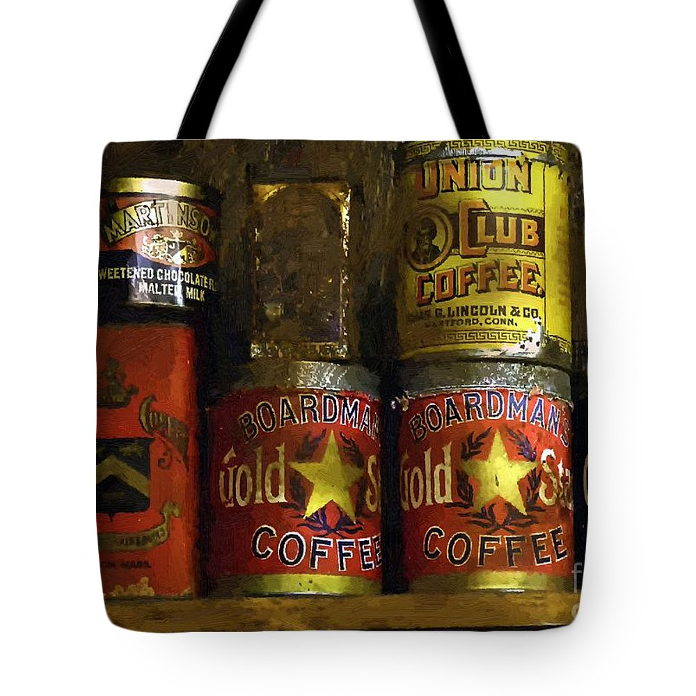 Americana Tote Bag featuring the painting A Variety Of Vintage Tins by RC DeWinter
