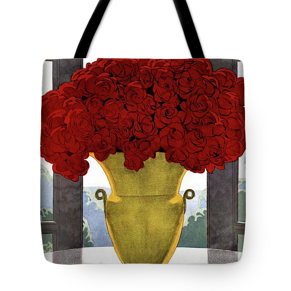 House And Garden Tote Bag featuring the photograph A Vase With Red Roses by Andre E Marty