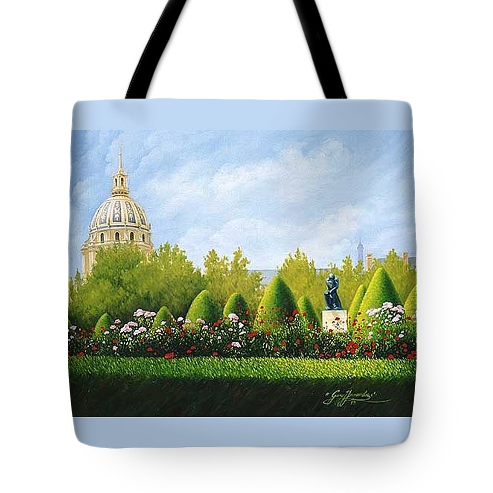 Travel Paintings Tote Bag featuring the painting A View From Rodins Garden In Paris France by Gary Hernandez
