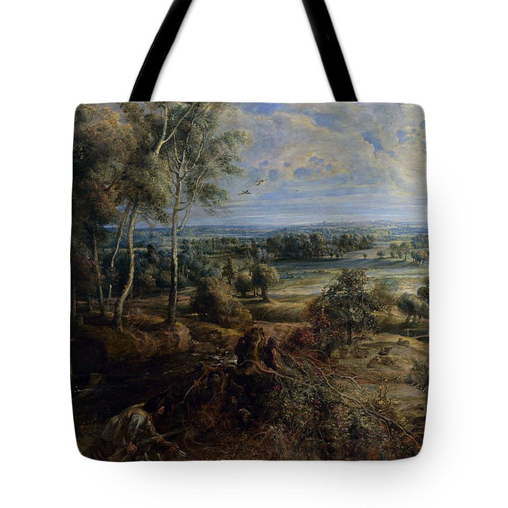 Peter Paul Rubens Tote Bag featuring the digital art A View Of Het Steen In The Early Morning by Peter Paul Rubens