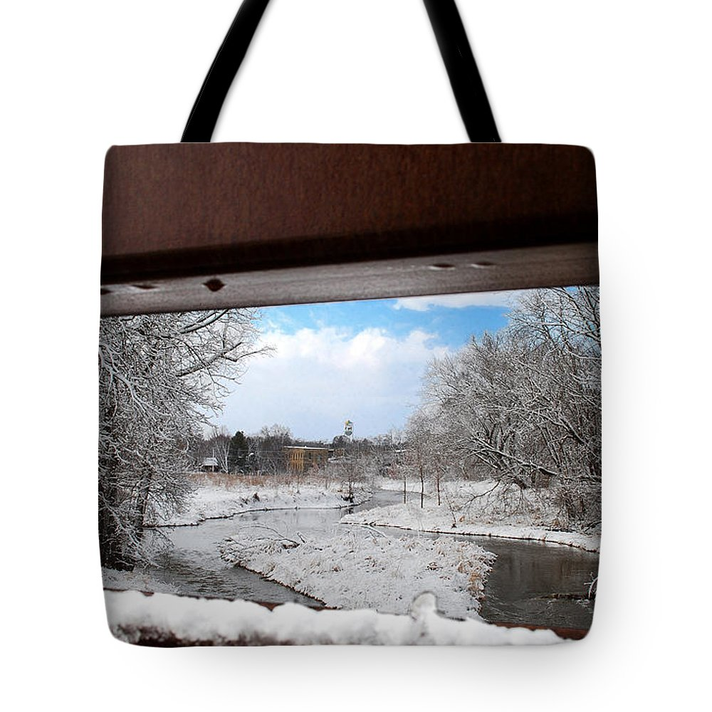 Faa 031314; Waterloo; Wiscons; Stream; Winter; Firemen's Park; You; Youker Park; Maunesha River; River; Landscape; Tote Bag featuring the photograph A View Of The Maunesha In A Fresh Blanket Of Snow by Janice Adomeit