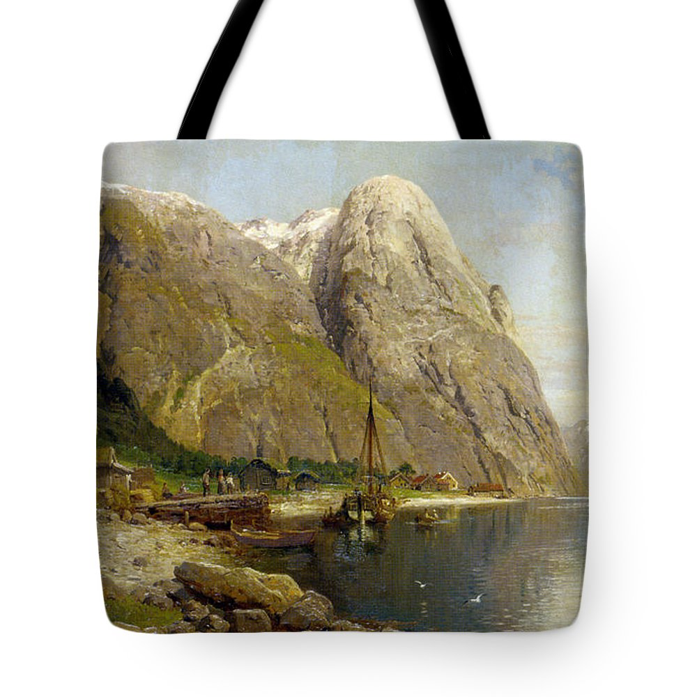 A Village By A Fjord Tote Bag featuring the digital art A Village By A Fjord by Askevold Andres Monsen