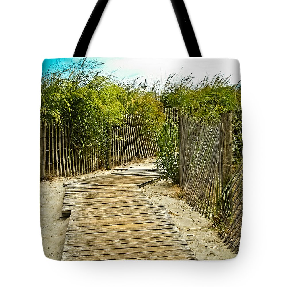 Beach Tote Bag featuring the photograph A Walk To The Beach by Colleen Kammerer