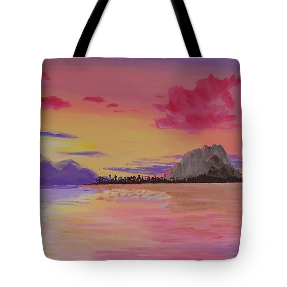 Tropics Tote Bag featuring the painting A Warm Happy Place by Glenn Harden