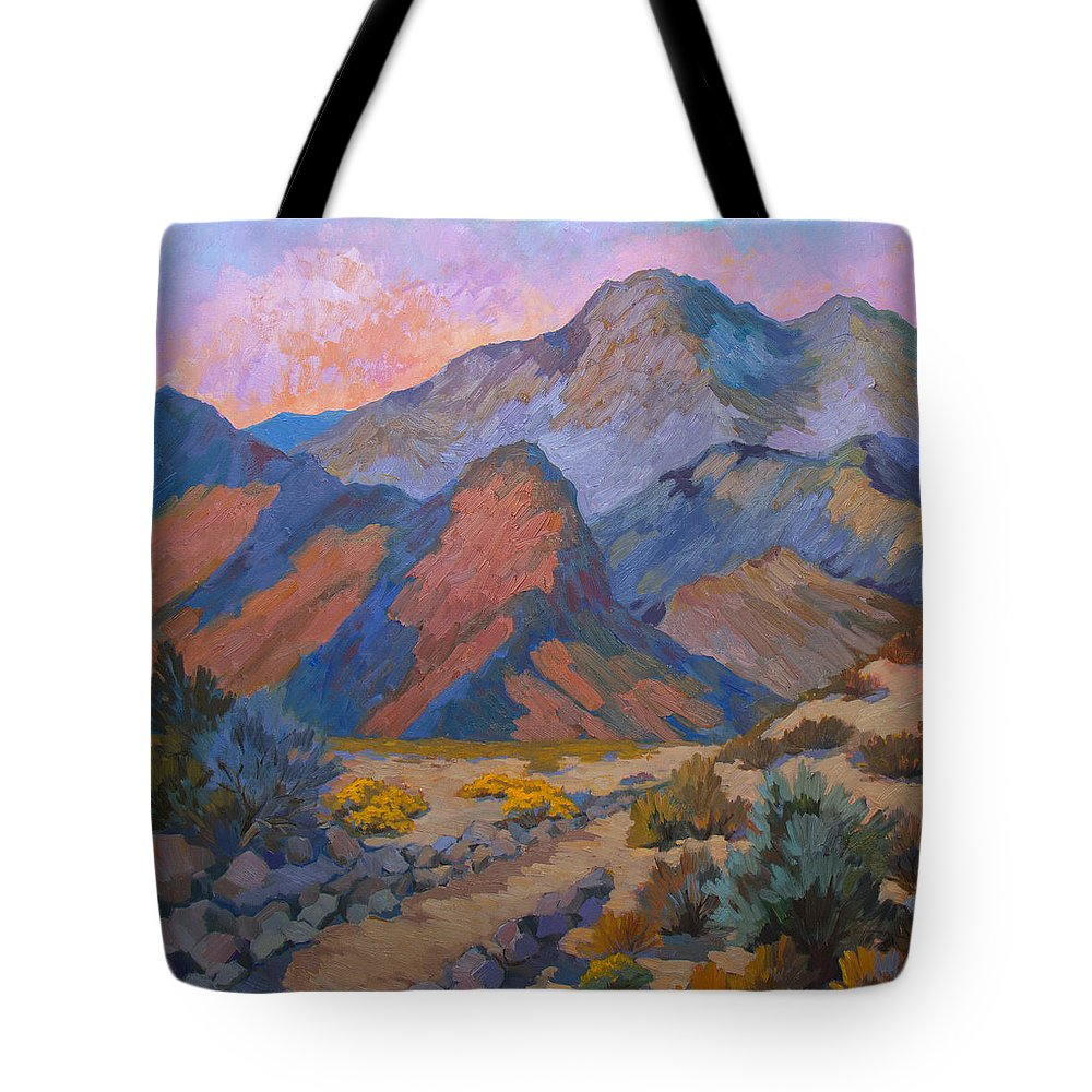 Spring Tote Bag featuring the painting A Warm Spring Walk In The Cove by Diane McClary