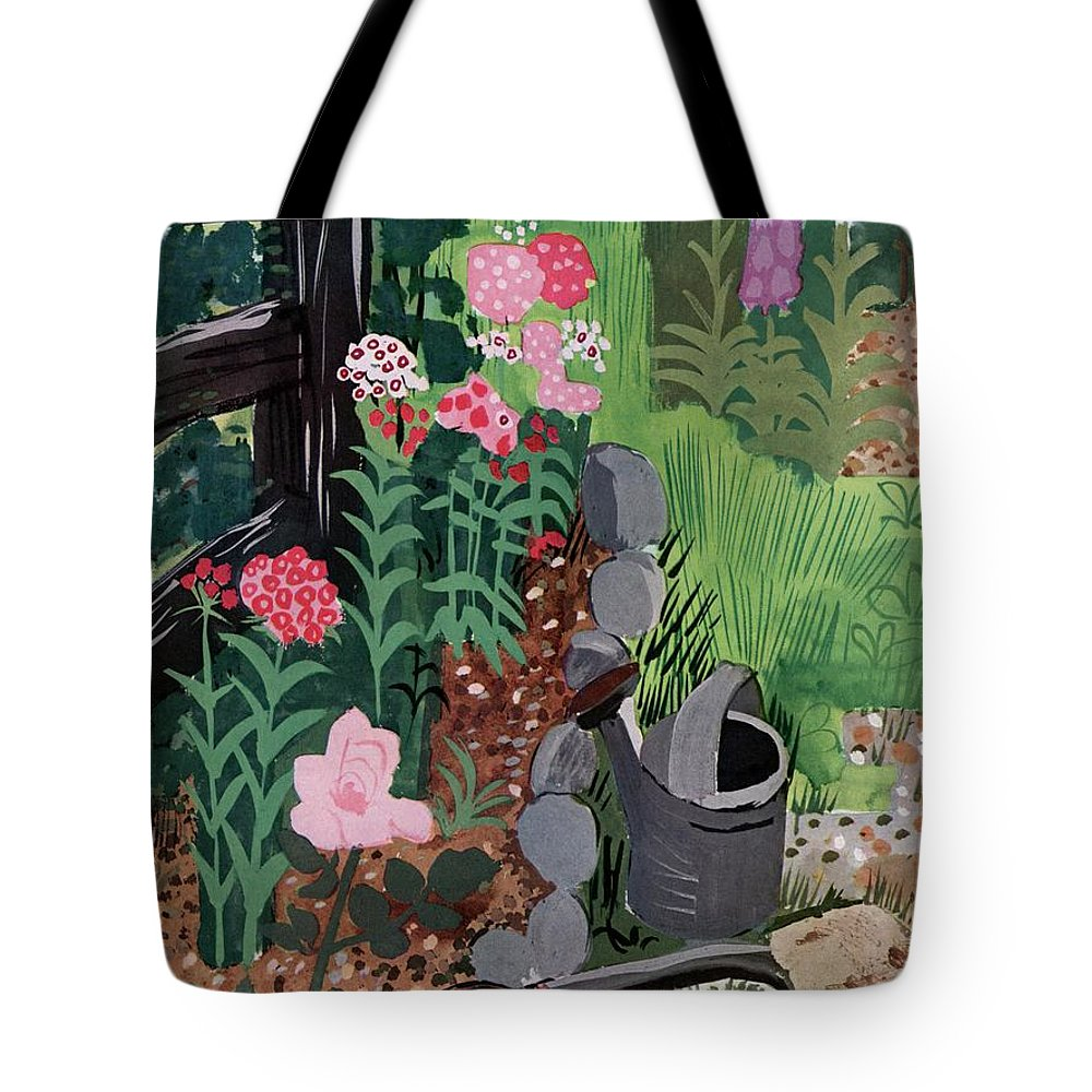 House And Garden Tote Bag featuring the photograph A Watering Can And A Shovel By A Flower Bed by Witold Gordon