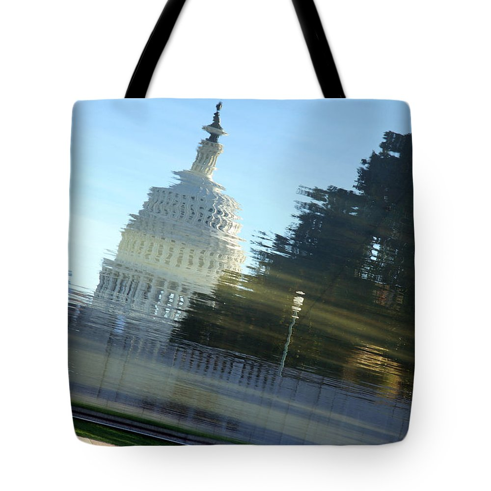 Dome Tote Bag featuring the photograph A Watery Capitol by Cora Wandel