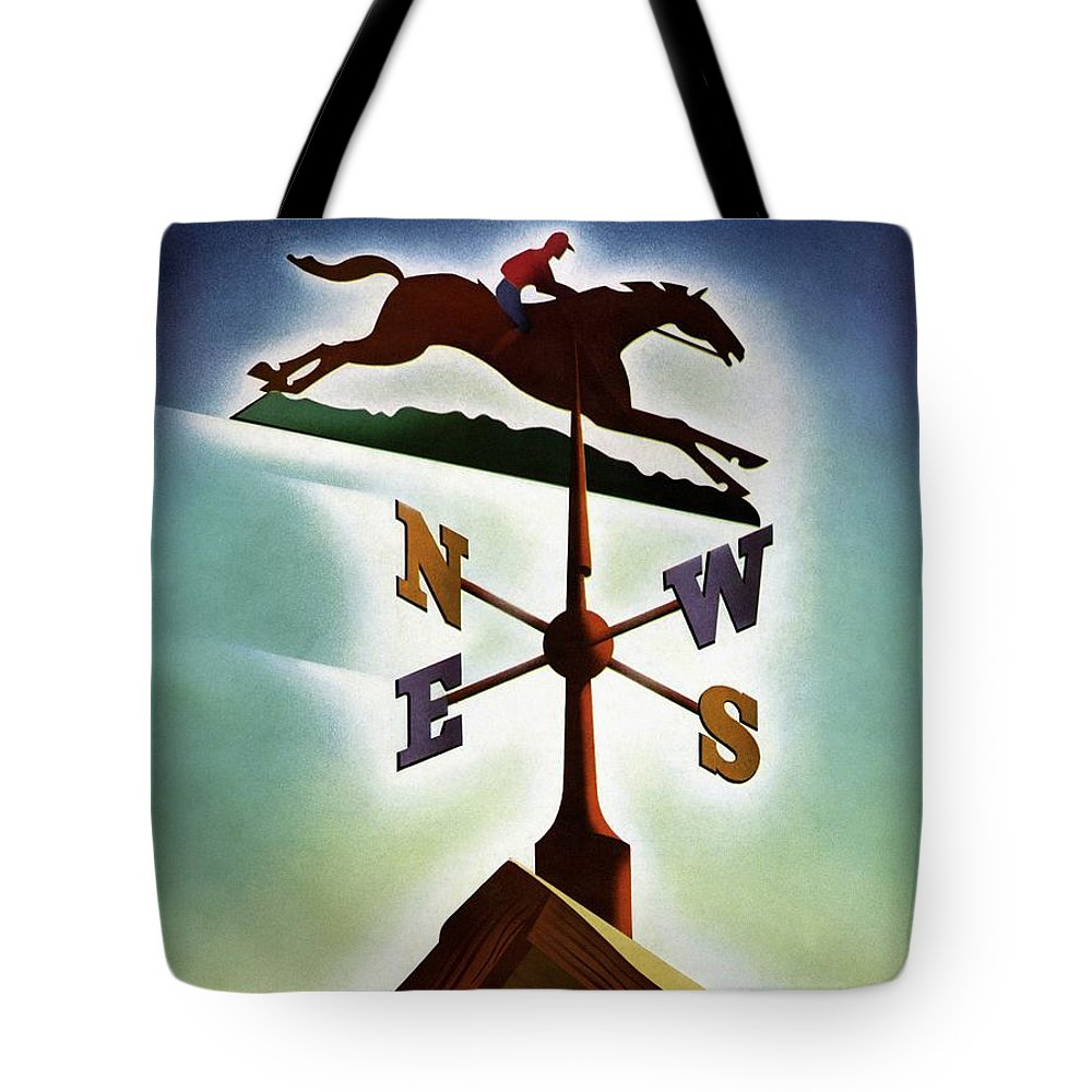 House And Garden Tote Bag featuring the photograph A Weathervane With A Racehorse by Joseph Binder